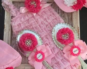 Pink lace romper, personalized princess mirror and hat set