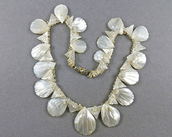Vintage Necklace With Mother Of Pearl Jewelry 1950s Jewellery Rhinestone Old Clasp Antiques Collectibles