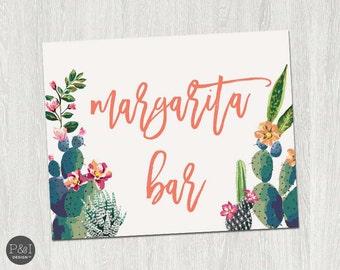 Margarita Bar Sign | Fiesta Cactus Bridal Shower Signage (8x10)