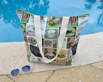 Green market bag, Olive shopping tote, olive oil vintage label fabric bag, retro beach bag, large shopping bag