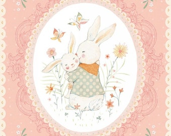 Bunny Baby Quilt Fabric Panel, Studio E 3550P 22, Bunny Tales, Lucie Crovatto, Peach Bunny Fabric Panel, Easter Baby Fabric, Cotton