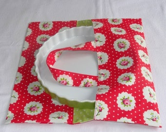 Flowered bag red tart / pea green