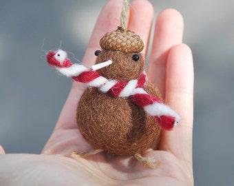 Kiwi Bird Miniature Ornament, Needle Felted Kiwi Bird Figurine, Kiwi Bird Ornament, Christmas Figurine, Needle Felted Animal