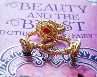 Rose Ring with Swarovski Crystal Center- Beauty and The Beast Inspired, Wire Wrapped