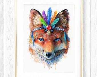 Bohemian Fox // Spirit Animal Totem Series Fine Art Print