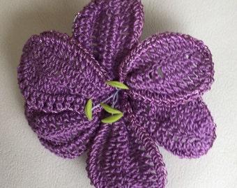 Crochet thread flower crochet  Appliqué lily motif violet lily crochet women accessory crochet 3D wired lily flower possible