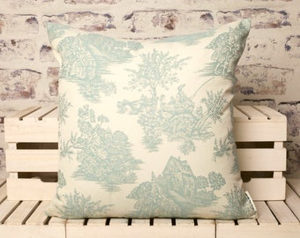large french toile de jouy Cushion// duck egg blue//toile de jouy cushion//toile de jouy pillow//duck egg blue toile de jouy