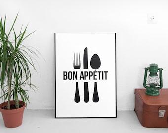 Bon Appetit Print, Printable Wall Art, Kitchen Art, French Quote, Typography Print, Digital Download, Home Decor