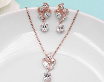 Rose Gold Wedding Jewelry Set, pear cubic zirconia jewelry, rose gold wedding necklace set, bridesmaid jewelry, Bailey Rose Gold Jewelry Set