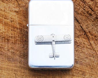 Biplane  WW1  Airplane Windproof Petrol Lighter With Free Engraving Aeroplane  Aviation RAF Gif