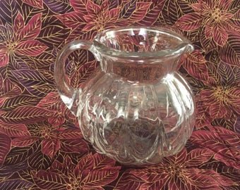 Clear Blown Glass Pitcher, Blown Glass Creamer, Ribbed Design Pitcher, Paneled Pitcher, Applied Handle, Syrup Pitcher
