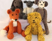 Knitting Patterns (UK) for Rebecca Rabbit, Freddie Fox, Leonard Lion, Mischief Monkey and Lucy Lamb.  Knit all 5 loveable animals.