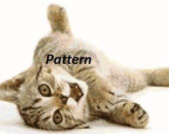 Cute kitten. Cross Stitch Pattern. PDF Files.