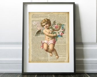 Cherub, vintage french book page, Digital Download, Printable Art, Home Decor, Little girls room, Babies and Kids room, ,Valentine gift