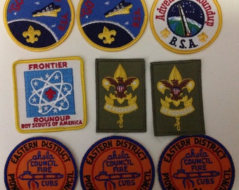 lot of 9 vintage boy scout patches 2 be prepared & others .50 dollar each