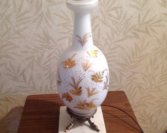 Bavarian Bristol white and gold table lamp, hand painted lamp, marble base table lamp, hand blown lamp, fish lamp base, vintage bedroom lamp