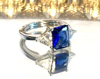 Vintage Sapphire Blue Silver Ring Size 9 Signed NV Ring
