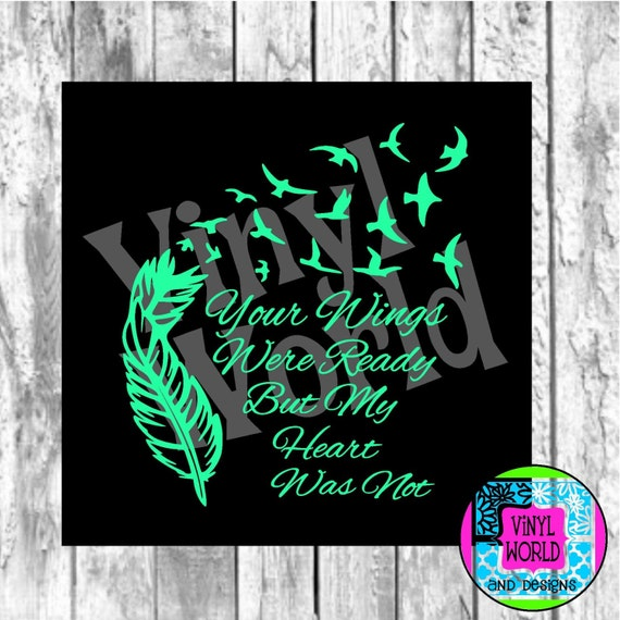 Wings Were Ready Feather Doves Memorial Cut File for Cricut Silhouette SVG DXF EPS pdf png jpeg studio For Decals Glass Block Ornament