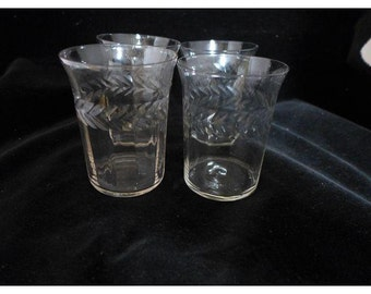 Vintage  Set of 4  Clear Glasses with Etched Tumbler / Water Glasses