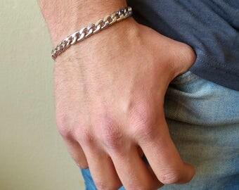 Mens Silver Chain Bracelet , Chunky Bracelet , Chain Bracelet , Bracelet , Mens Bracelet , Mens Jewelry , Gift For Men , Silver Bracelet