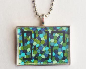 Sea Green Necklace, Resin Pendant, Geometric Jewelry, Blue Aqua Black, Abstract Print, Small Charm