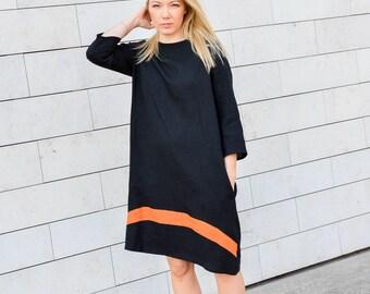 Linen dress for women- black women dress- dress with pockets- summer dress- long sleeve dress- loose fit dress- oversized dress