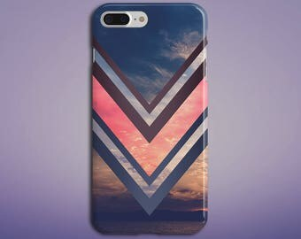 Pink x Navy Chevron Ocean Sunset Phone Case, iPhone X, iPhone 8 Plus, Protective Phone Case, Galaxy s8 Samsung, Nature, Beach, CASE ESCAPE