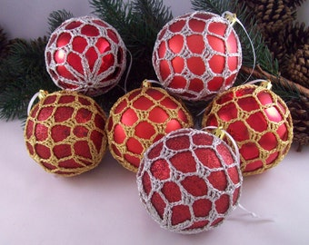 Red, Gold & Silver Christmas baubles, ChristmasInJuly, CIJ, Tree decorations, Crochet baubles, Christmas ornaments, Holiday decorations