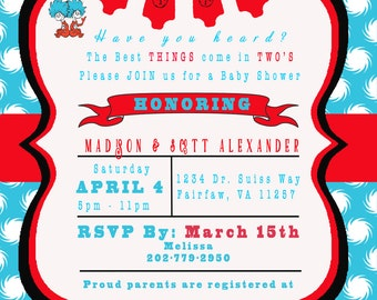 INSTANT DOWNLOAD DESIGN - Invitation inspired by Dr. Seuss Thing 1 Thing 2 - Baby Shower Invitation Twins #2 - Red & Turquoise