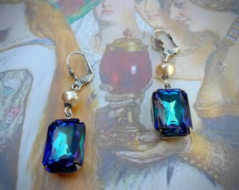 The Duchess classic earrings, vintage blue glass jewels w purple hints, cream glass pearls, antique silver plated, Czech and German glass