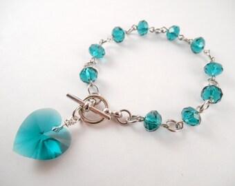 Emerald Heart Bracelet - Swarovski Emerald Heart Beaded Toggle Bracelet