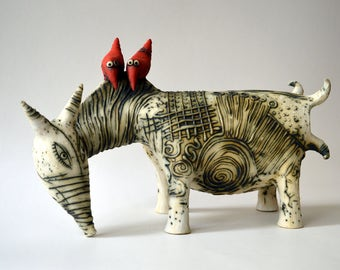 white cow - ceramic cow - red birds - birds - ceramic birds - ceramic art - animals - ceramic animals - ceramic sculpture