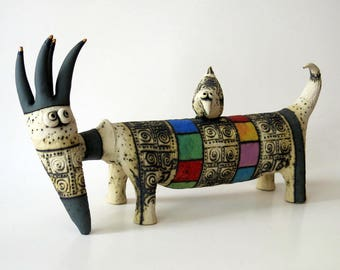 creature - ceramic  creature - ceramic sculpture - sculpture - animals - ceramic animals - fantasy creature