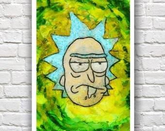 "Rick and Morty Impasto Painting Print// Swirl Series // Heavy Impasto Digital Painting //  12"" x 18"""