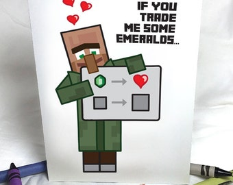 Minecraft Villager Greeting Card   Full Color   Valentines Day   Instant Download   Printable