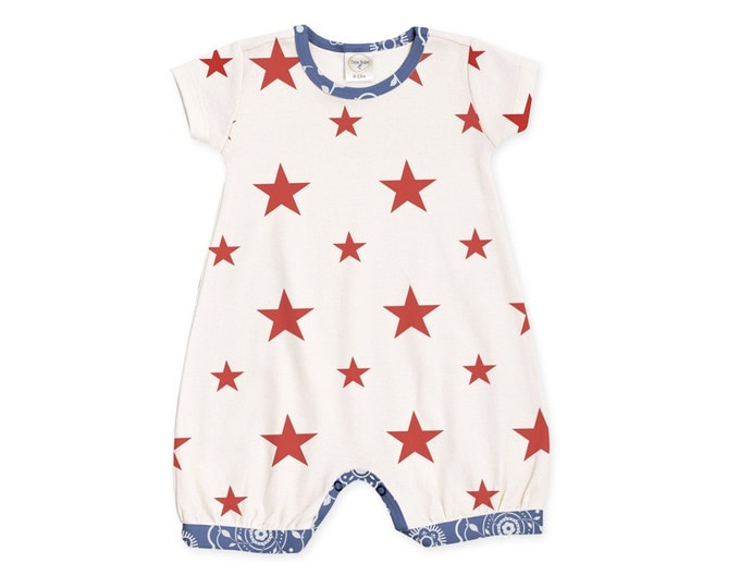 Baby Girl Fourth of July Outfit, Newborn Girl Coming Home Outfit, Baby Girl Stars Romper, Baby Red Stars Bodysuit, Tesababe RP520SSBD0000