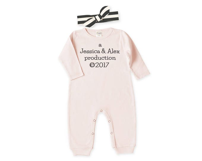 Personalized Newborn Girl Coming Home Outfit, Newborn Girl Take Home Romper & Headband, Pink, Production 2017, Tesababe