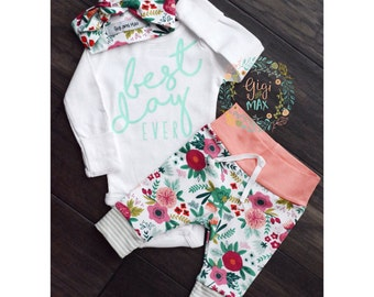Baby girl coming home outfit best day ever Coral Floral theme best day ever baby shower gift new baby set going home hospital outfit