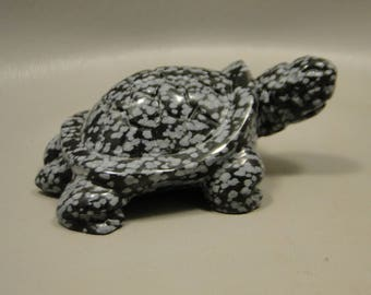 Turtle Carving Snowflake Obsidian Small Carved Animal Healing Stone Fetish Gemstone #e10