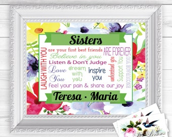 "Personalized / Custom Gift Siblings, Sister, Sisters, Wall Art Sign  8x10"" Any Names, Printed, Family (Version 1)"