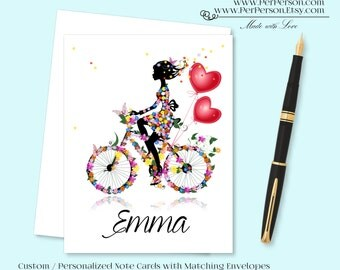 Free Ship!  Set of 12 Personalized / Custom Notecards, Boxed, Blank Inside, Heart, Silhouette, Female, Girl, Bike, Monogram, Name, Initials
