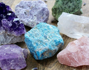 Healing Crystal Set Beginner Set Raw Starter Kit Natural Crystals and Stones Amethyst Crystal Rough Crystal Collection Bohemian Decor