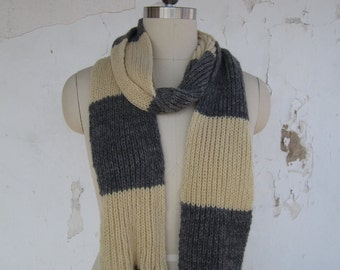 Pure cashmere Hufflepuff inspired Newt Scamander scarf long rib knit scarf made from unraveled cashmere sweaters pale yellow faded charcoal