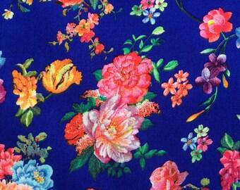 Floral patterned fabric, Royal Blue Viscose dressmaking , crafts PER HALF METRE