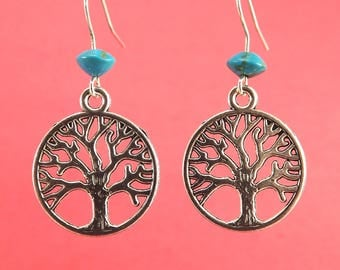 Tree of Life Earrings Silver Filled Wires with 6mm Turquoise Bead
