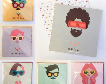 Handcrafted/ handmade mini card set of 6 wearing little wooden glasses. Cute!