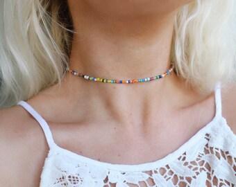 Rainbow Luster Beaded Choker Necklace