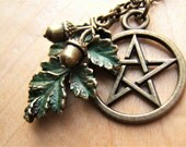 Pentagram/pentacle necklace.Hand finished Oak leaf, 3D acorns. Bronze with Green patina Pagan Wicca Jewelry Gift