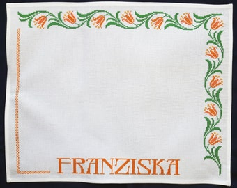Vintage monogrammed embroidered napkin FRANZISKA