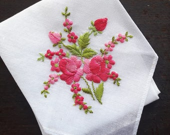 Vintage white embroidered handkerchief with flowers